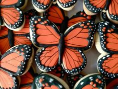 Orange butterfly cookies By oh sugar event planning, Black Fancy Cookies, Cut Out Cookies, Iced Cookies, Cute Cookies, Easter Cookies, Royal Icing Cookies, Birthday Cookies, Cupcake Cookies, Sugar Cookies