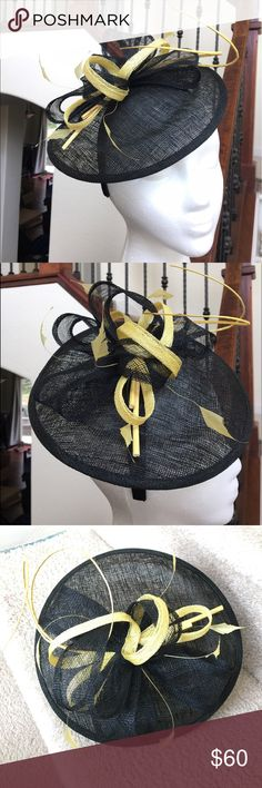 Black & Yellow Sinamay Derby Headband Fascinator New Arrival! Beautiful saucer fascinator w/ feathers. Fixed headband. Order today to get it in time for the Derby! Made in the 🇵🇭.   Please ask ALL questions before buying, sales are final. I try to describe the items I sell as accurately as I can but if I missed something, please LMK FIRST so we can resolve it before you leave < 5🌟rating.   🚫TRADES/OFFLINE TRANSACTIONS/SPAM COMMENTS ✅Use OFFER BUTTON please (Please consider the 20% PM fee…