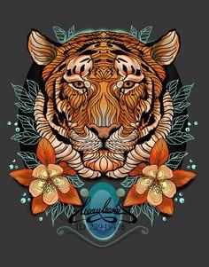 Tiger Artwork, Art Graphique, Cat Art, Japanese Art, Cute Wallpapers, Art Inspo, Fantasy Art, Body Art, Graffiti