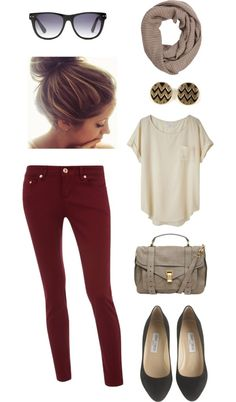 Cute! Colored skinnies & neutral top with flats