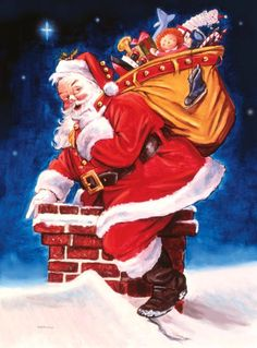Santa is getting ready to go down the chimney as deliver gifts Image 11 x 14.5 Canvas Open Edition