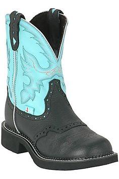 Justin Ladies Gypsy Collection Boots - Black w/ Aqua Blue Tops