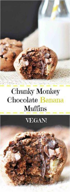 Vegan Chunky Monkey Chocolate Banana Muffins - The very best muffin combo, chocolate, peanut butter, and banana.   Veganosity