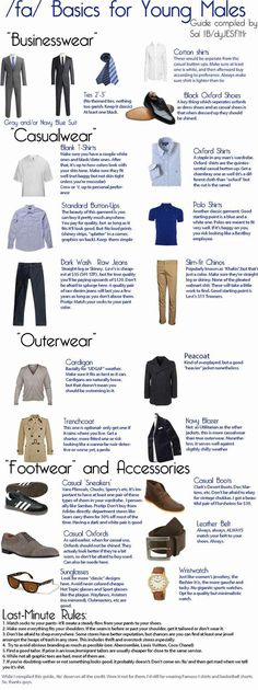Basics for Young Males    Very good guide for someone trying to improve their wardrobe. But remember it's exactly that: a guide, not a strict rule as opinions vary, and the rules of fashion evolve. It's probably the best guide I've seen though.