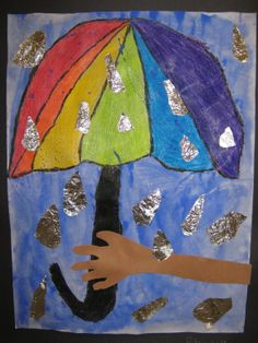 crayon resist with foil raindrops