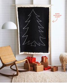 Canvas chalk painted Christmas Tree. Great for kids to draw ornaments using coloured chalk