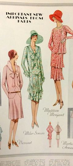Page from McCall's Summer 1929 catalog   McCall 5638 by Vionnet, 5651 by Miler Soeurs and McCall 5643 by Martial & Armand
