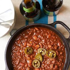 This game-day chili is a sure-fire crowd pleaser, perfect for serving for football games during chilly weather.