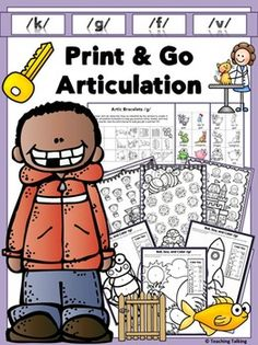 Articulation Activities. Print & Go Articulation Therapy Activities for k,g,f,v.
