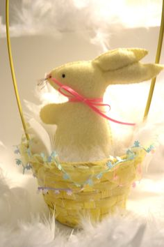 Basket with 4 Felt rabbits bunnies Easter or Baby by TheMemis, $60.00