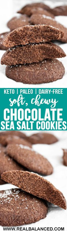 These Chocolate Sea Salt Cookies are soft, chewy, and totally irresistible! They are keto, low-carb, paleo, dairy-free, gluten-free, grain-free, vegetarian, refined-sugar-free, and only 1.6g net carbs per serving! #keto #ketodessert #lowcarb #lowcarbdessert #paleo #paleodessert #dairyfree #dairyfreeketo #dairyfreelowcarb #vegetarian #vegetarianketo #vegetariandessert #ketorecipe