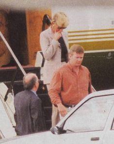 Princess Diana preceded by Al Fayed bodyguard, Trevor Rees Jones. 1997 arriving in Paris.