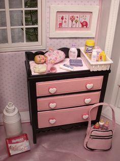 Newborn Krissy & Nursery Lot Baby Layette Crib Shelf Dream House Happy Family
