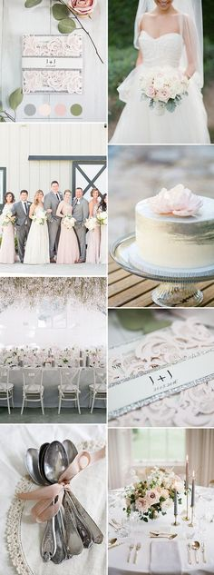 romantic blush pink and silver spring and summer wedding color inspiration
