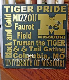 University Of Missouri Tigers Football    Any Alma Matar Or New Mizzou Student Is Gonna Love This University Of Missouri 12x12 Wooden Subway Art.