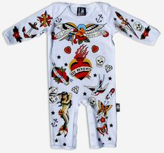 For the Little Rocker!! Tattoo Romper available in size nb, 3m, 6m. Made with NON-TOXIC Inks
