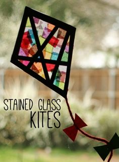 DIY Craft Ideas - Stained Glass Kites - super cute!
