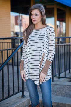 """""""Vision In Stripes Top, Oatmeal"""" 
