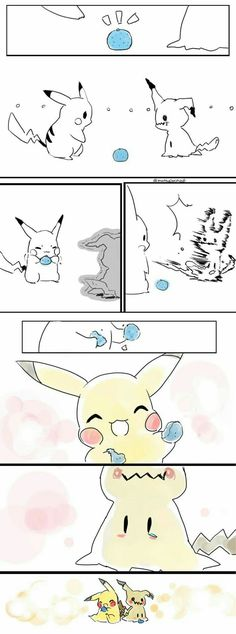 Mimikyu, Pikachu, cute, comic, blueberry, funny; Pokémon