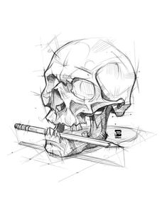 Skull sketch Drawing Tips skull drawing Dark Art Drawings, Animal Drawings, Pencil Drawings, Skull Drawings, Tattoo Sketches, Tattoo Drawings, Drawing Sketches, Drawing Tips, Drawing Hair