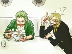 Zoro, Sanji, eating, ramen; One Piece