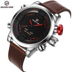 Luxury Leather Waterproof Sport LED Digital Quartz Clock Watch