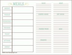 Plan Your Meals For The Week And Create A Shopping List With This