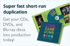 Super fast short-run duplication. Get your CDs, DVDs, and Blu-ray discs into production today.