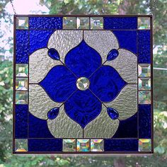 Cobalt blue stained Glass flower panel