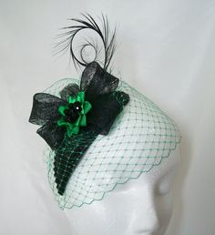 Black & Emerald Green Endora Veiled Teardrop Percher Fascinator Hat Order Now from Gothic Diva Designs #Gothic #Steampunk Fabulous Elegant Gothic, Victorian Vintage & Steampunk inspired designs, Including mini hat fascinators, feathered hair clips, ostrich & peacock feather fans, saucer hats, wedding bouquets, bandeau veils and wristlets. www.gothicdivadesigns.co.uk