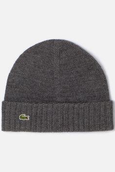 Lacoste Men's Green Croc Merino Knit Beanie : Caps & Hats