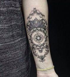 Compass tattoo - arm tattoo - ornamental tattoo - womens tattoos - girls tattoos