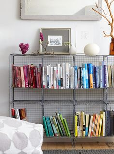 Dehn Bloom Design - living rooms - wire shelving, wire shelves, metal bookcase, books organized by color,  Industrial style iron wire shelvi...