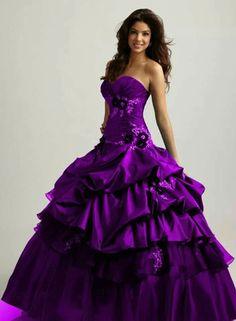 Purple Quinceanera Dresses | Vestidos de Quinceanera | Strapless Quince Dress Ideas with ruffled bottom #quinceanera