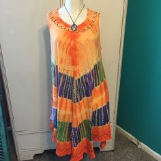 Brand New Multi Colored Summer Dress Vibrant Colored Summer Dress or Beach Cover Up.  Amazingly Free Flowing and Comfortable Dresses Asymmetrical