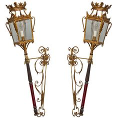 Pair of Venetian Wall Lanterns   From a unique collection of antique and modern lanterns at https://www.1stdibs.com/furniture/lighting/lanterns/