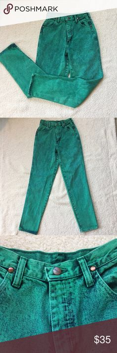 "Vintage High Waisted Women's Wranglers Beautiful rare green color. New without tags. Never worn. Bought them YEARS ago with the intentions of making them into shorts but never got around to it. They have been sitting for too long. They need a new home with someone who will wear them. Would look sooo cute turned into shorts and worn with boots.   100% cotton with no stretch. High waisted. Old school stiff Jeans.   Approx measurements  Inseam 32"", Waist 13"". Rise 12"" Wrangler Jeans Straight…"