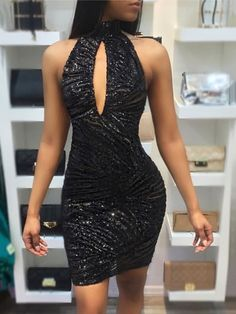Halter Keyhole Sequins Open Back Bodycon Dress Stylish Dresses eec066468