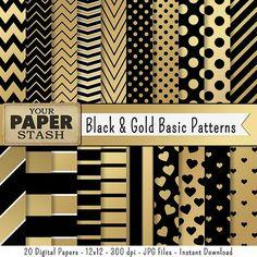 Black & Gold Digital Paper Black Gold Scrapbook by YourPaperStash