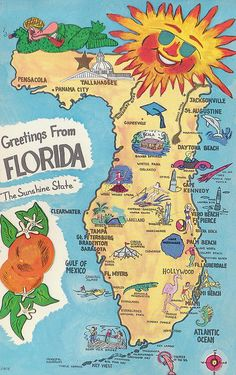 vintage florida map love that silver springs is on it as a major landmark!! Oh home how I miss you!!