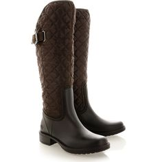 POSH WELLIES Malachite Brown Quilted Boots ($88) ❤ liked on Polyvore