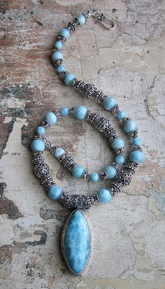 Where Dolphins Sing  Larimar and Sterling bali Necklace