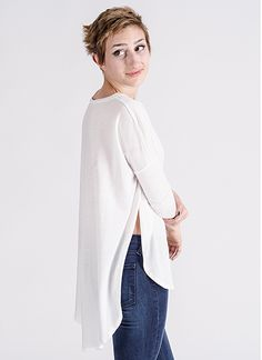 Taylor Box Cut Basic Tunic Top in White by Knot Sisters | Edge of Urge