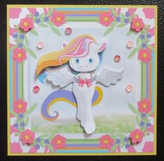 Magical Unicorn on Craftsuprint created by Davina Rundle -  I printed on to matte photo paper. I covered a card with yellow card.  Mounted the topper on to my card and layered all elements. Added sequins to finish. A sentiment can be added if required. A gorgeous design.