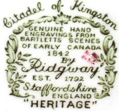 Heritage pattern by Ridgway Pottery - Citadel of Kingston backstamp
