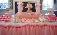 Tule skirting, so easy to make and adds some flair to your desert table:) Perfect for a tea party table as well:)
