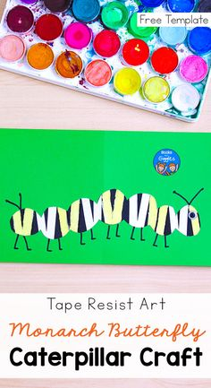 This monarch caterpillar craft uses a tape resist art method that's lots of fun for preschool and up. Includes a free printable template. Creative Arts And Crafts, Easy Crafts For Kids, Toddler Crafts, Preschool Crafts, Art For Kids, Preschool Ideas, Caterpillar Pictures, Caterpillar Book, Monarch Caterpillar