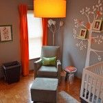 i'm loving gray orange and white. it'll look great with my natural wood crib