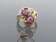 Vintage Solid Yellow Gold Star Ruby & Diamond Ring Size by on Etsy 14k Gold Bracelet, 14k Gold Ring, Gold Rings, Gemstone Rings, Bangle Bracelet, Art Nouveau Ring, Ruby Diamond Rings, Blue Topaz, Solid Gold