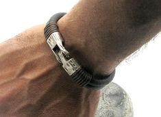 FREE SHIPPING Men's leather bracelet Black and Green leather multi strand  leather bracelet with silver plated spacers and clasp